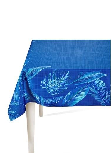 The Mia Banana Palm Masa Örtüsü - 230 x 150 Cm - Mavi Renkli